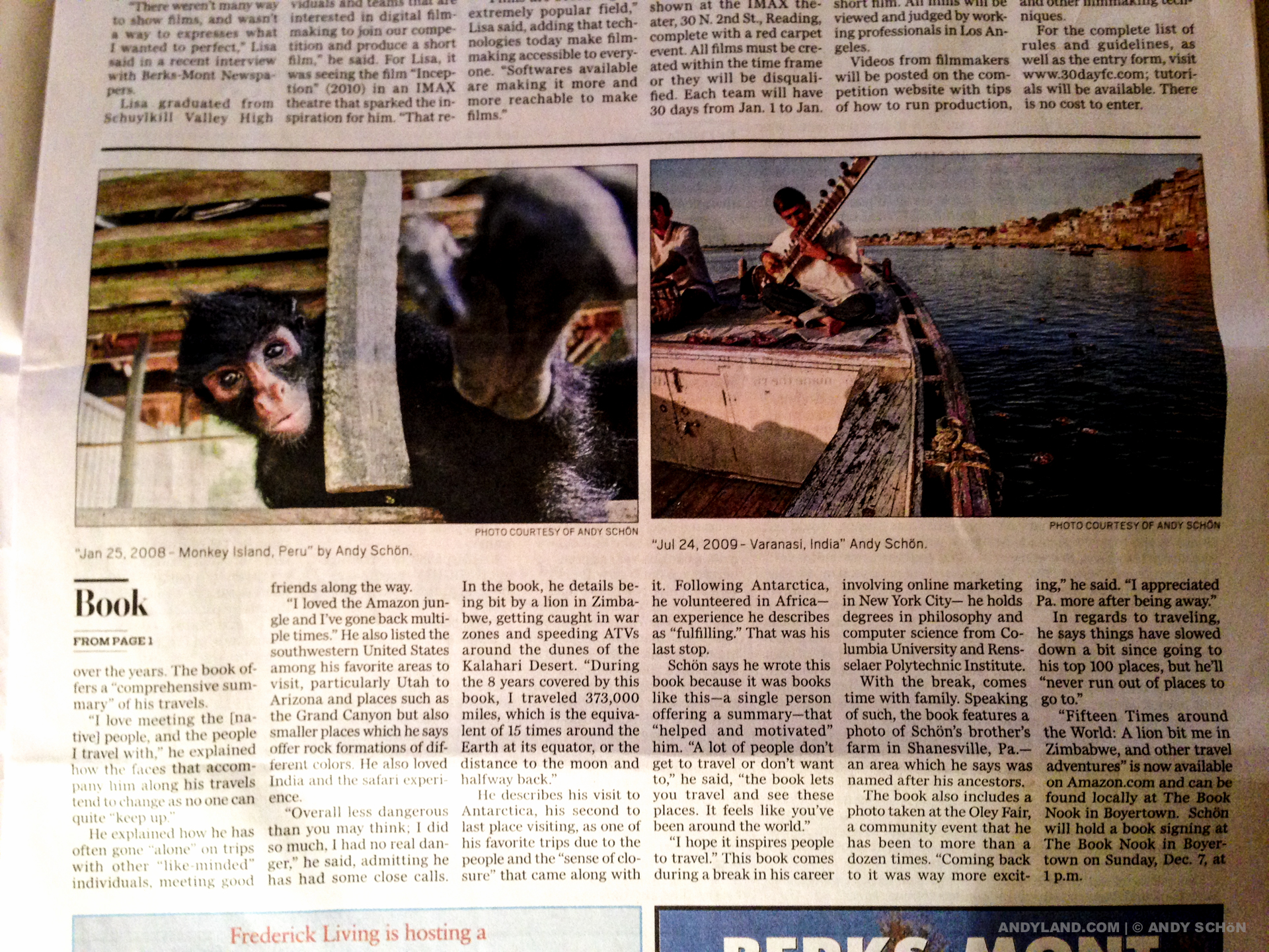 Boyertown Times, Fifteen Times around the World, front page article